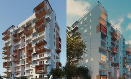The first apartment block with a running track on the roof rises in Romania
